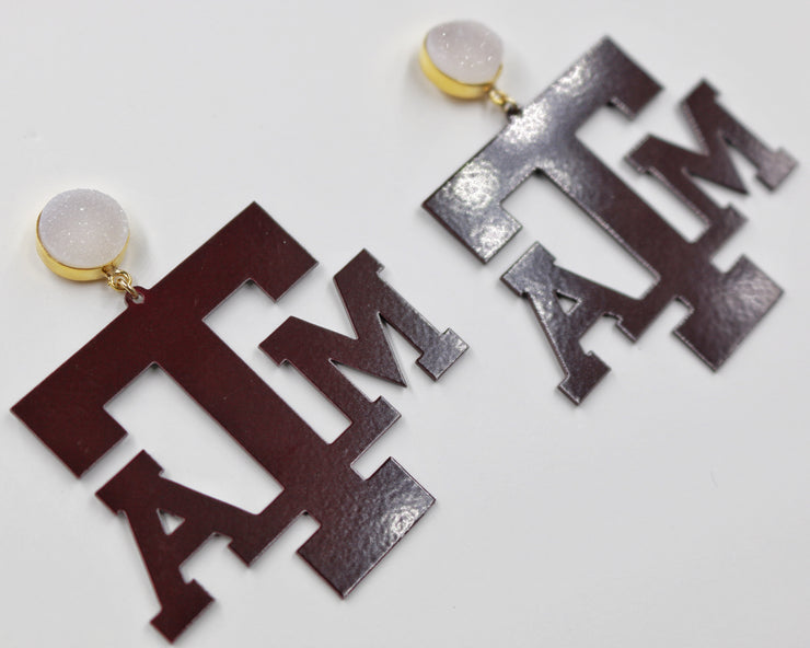 Texas A&M Maroon Logo Earrings with White Druzy