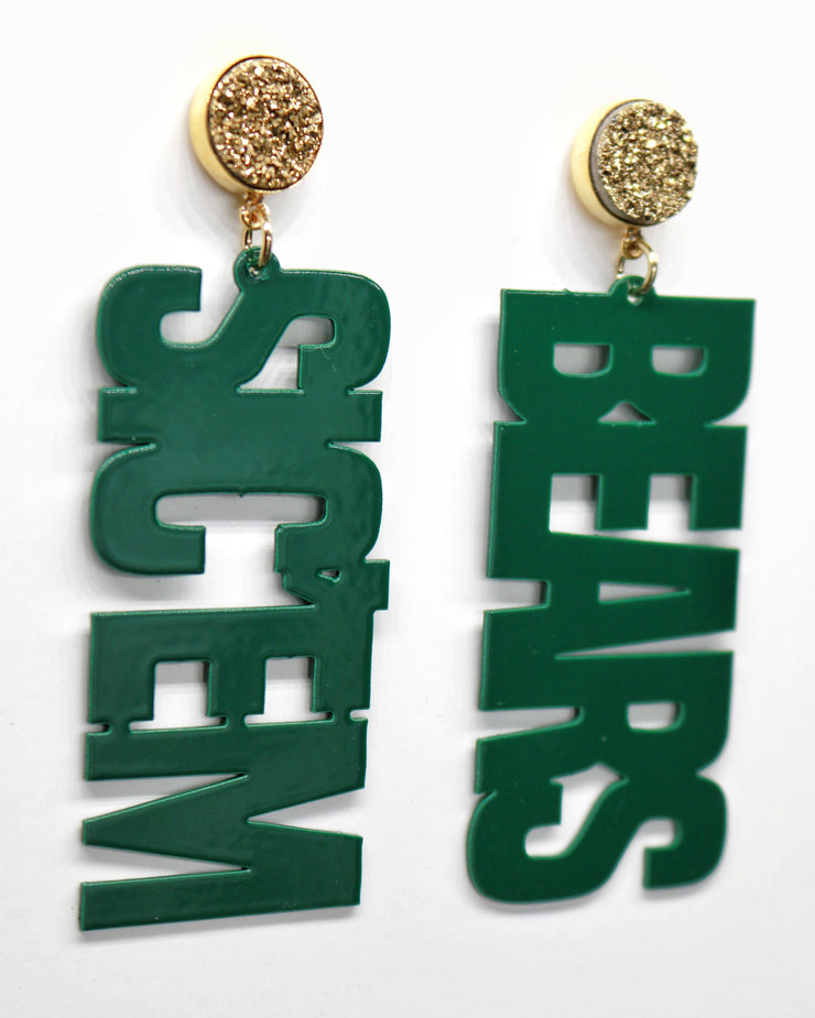 Baylor Green SIC'EM BEARS Earrings with Gold Druzy