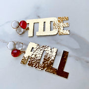 Alabama Gold ROLL TIDE Earrings with 3 Gemstones