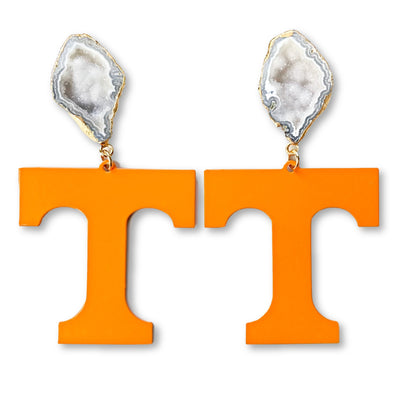 Tennessee Orange T Logo Earrings with White Geode