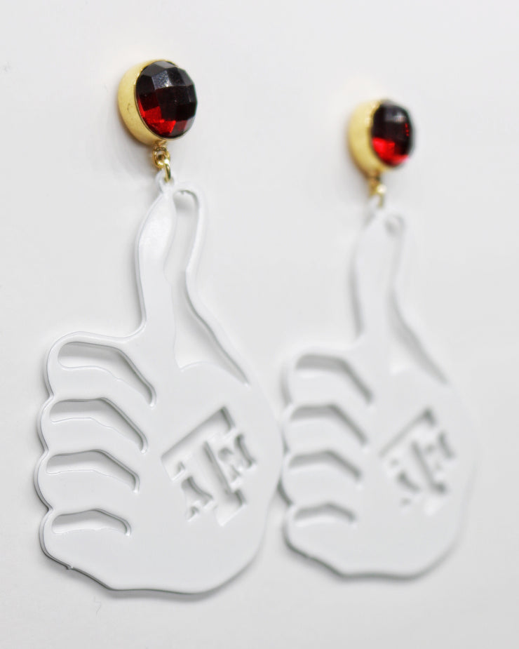 Texas A&M White Gig'Em Hand Earrings with Garnet