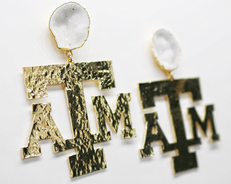 Texas A&M Gold Logo Earrings with White Geode