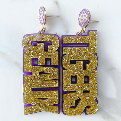 LSU - Gold Glitter GEAUX TIGERS Earrings over Purple with Purple Logo Top