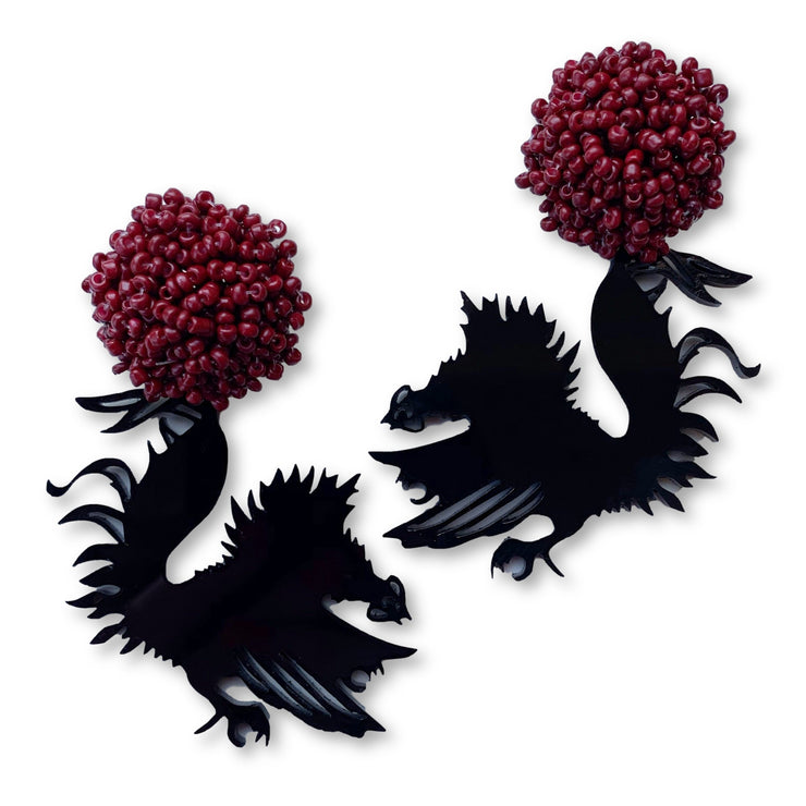 South Carolina Black Acrylic Gamecock Earrings with Garnet Beaded Top