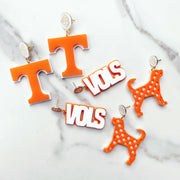 Tennessee - Orange and White Checker Smokey Earrings with White Logo Top
