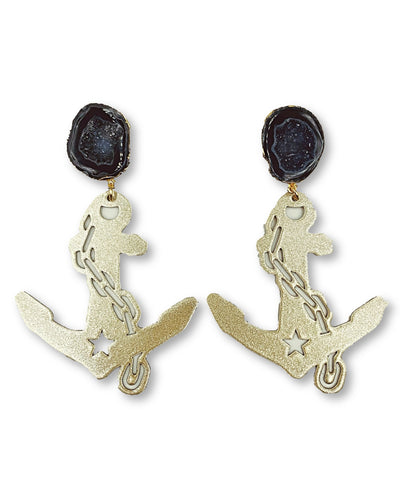 Vanderbilt Gold Tone Anchor Earrings with Black Geode