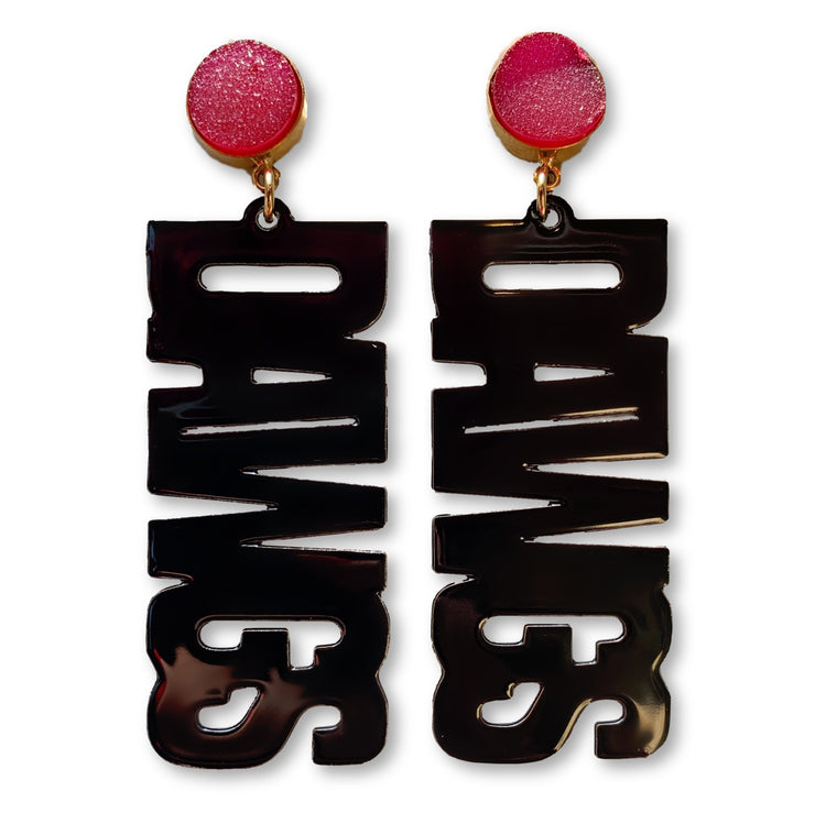 "Georgia Black ""DAWGS"" Earrings with Red Druzy"