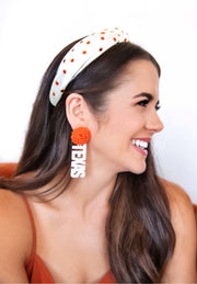 Team Colors Ivory Knotted Headband with Orange Crystals