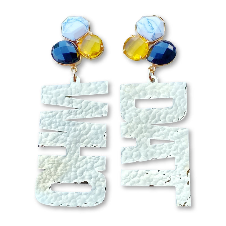 24k Gold Plated WHO DAT Earrings with 3 Gemstones