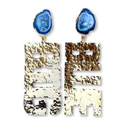 "Kentucky Gold ""BIG BLUE"" Earrings with Blue Geode"