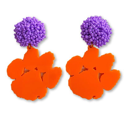Clemson Orange Acrylic Paw with Purple Beaded Top