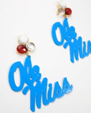 Ole Miss Powder Blue Script Earrings with 3 Gemstones