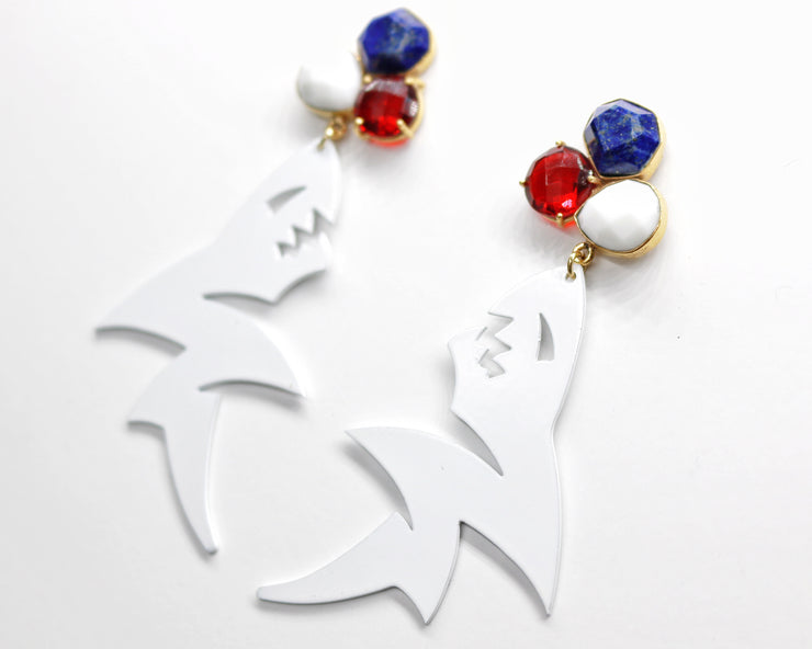 Ole Miss White Land Shark Earrings with 3 Gemstones