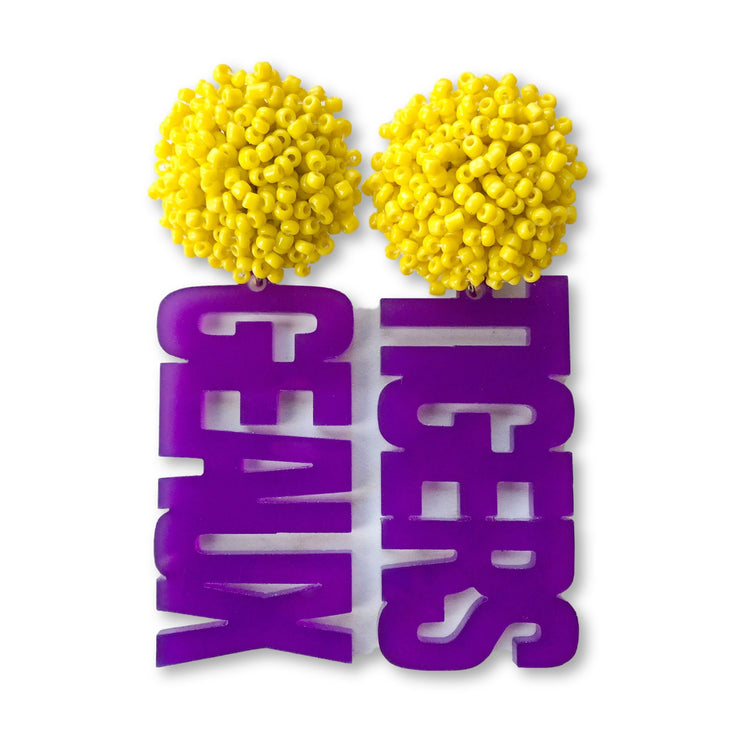 LSU Purple Acrylic GEAUX TIGERS with Yellow Beaded Top