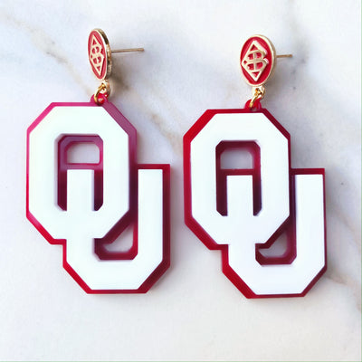 University of Oklahoma - White OU Earrings over Crimson with Crimson Logo Top