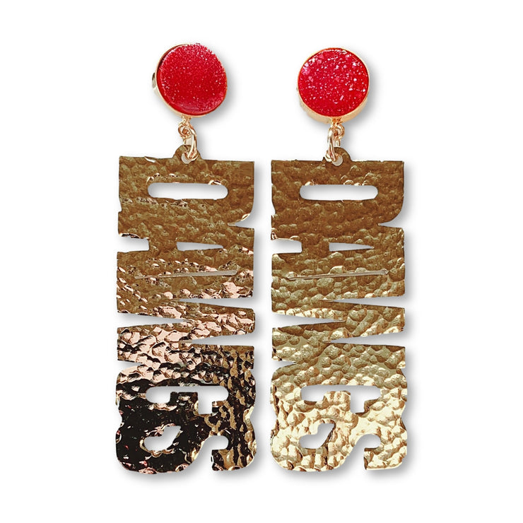 "Georgia Gold ""DAWGS"" Earrings with Red Druzy"