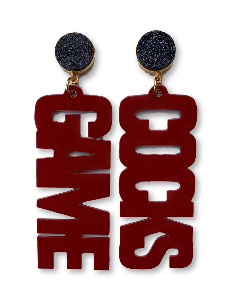 "South Carolina Garnet ""GAME COCKS"" Earrings with Black Druzy"