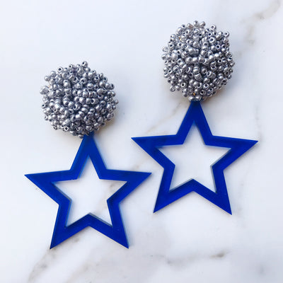 Team Colors Blue Translucent Acrylic Star Earrings with Silver Beaded Top