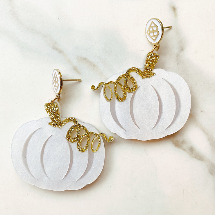 Fall 2020 - White and Gold Pumpkin Earrings