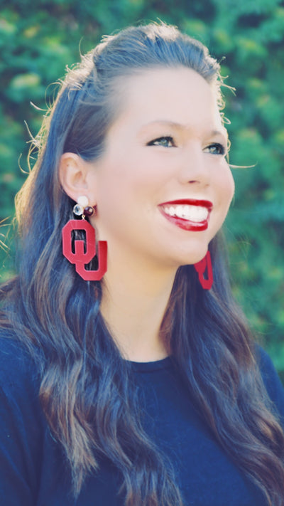 OU Crimson Logo Earrings with 3 Gemstones