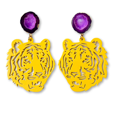 LSU Yellow Tiger Earrings with Purple Geode