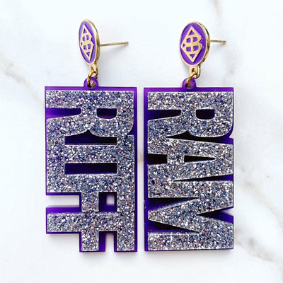 TCU - Silver Glitter RIFF RAM Earrings over Purple with Purple BC Logo Top