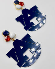Auburn Navy Blue Logo Earrings with 3 Gemstones