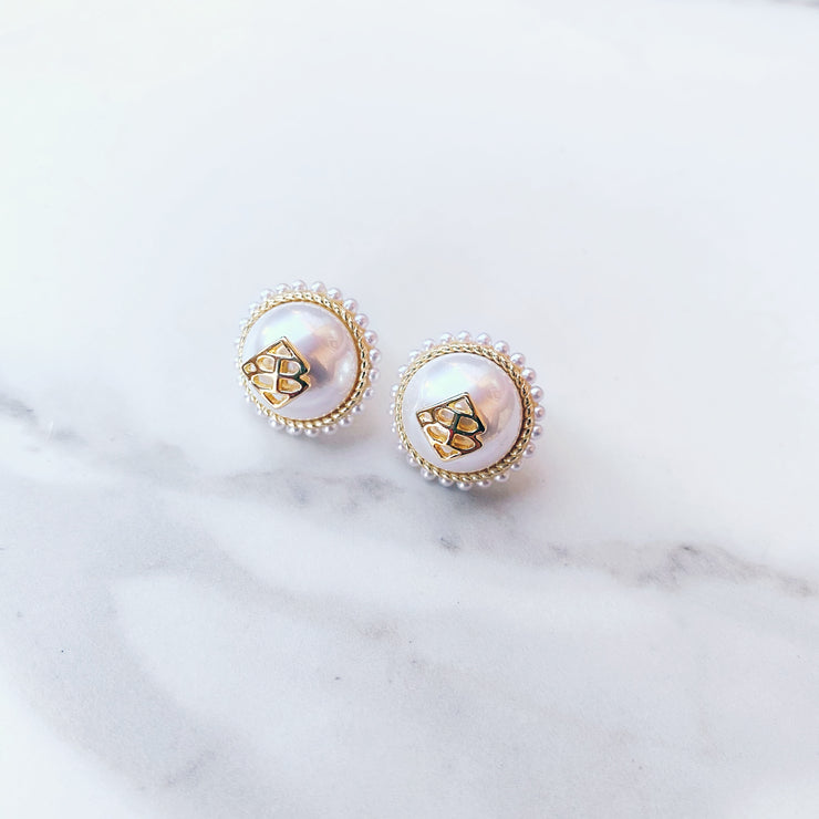Pearl Button Logo Studs