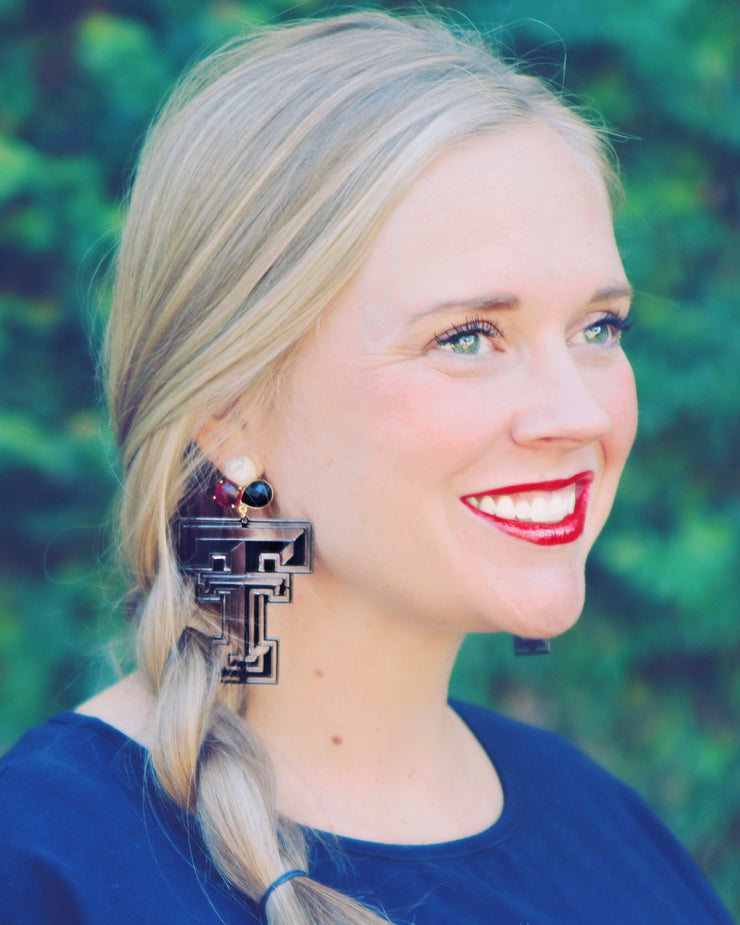 Texas Tech Black Logo Earrings with 3 Gemstones