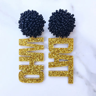 "Team Colors Gold Glitter Acrylic ""WHO DAT"" with Black Beaded Top"