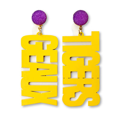 LSU Yellow GEAUX TIGERS Earrings with Purple Druzy