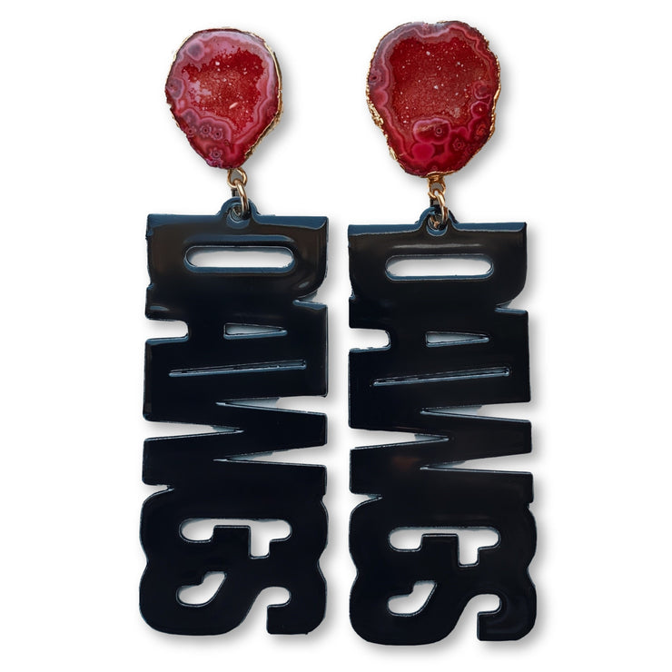 "Georgia Black ""DAWGS"" Earrings with Red Geode"