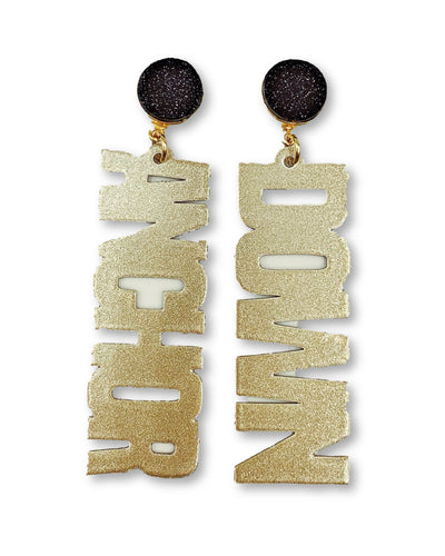 Vanderbilt Gold Tone ANCHOR DOWN Earrings with Black Druzy