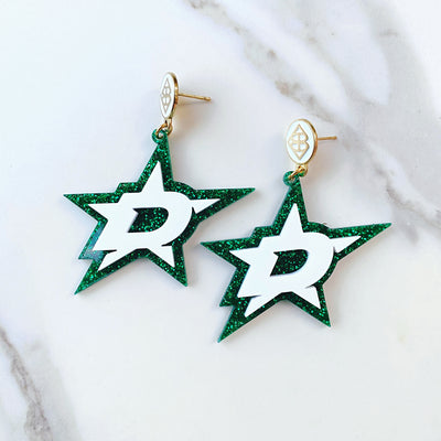 Dallas Stars - White D Star over Green Glitter with White Logo Top