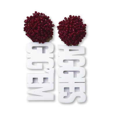 "Texas A&M White Acrylic ""GIGEM AGGIES"" Earrings with Maroon Beaded Top"