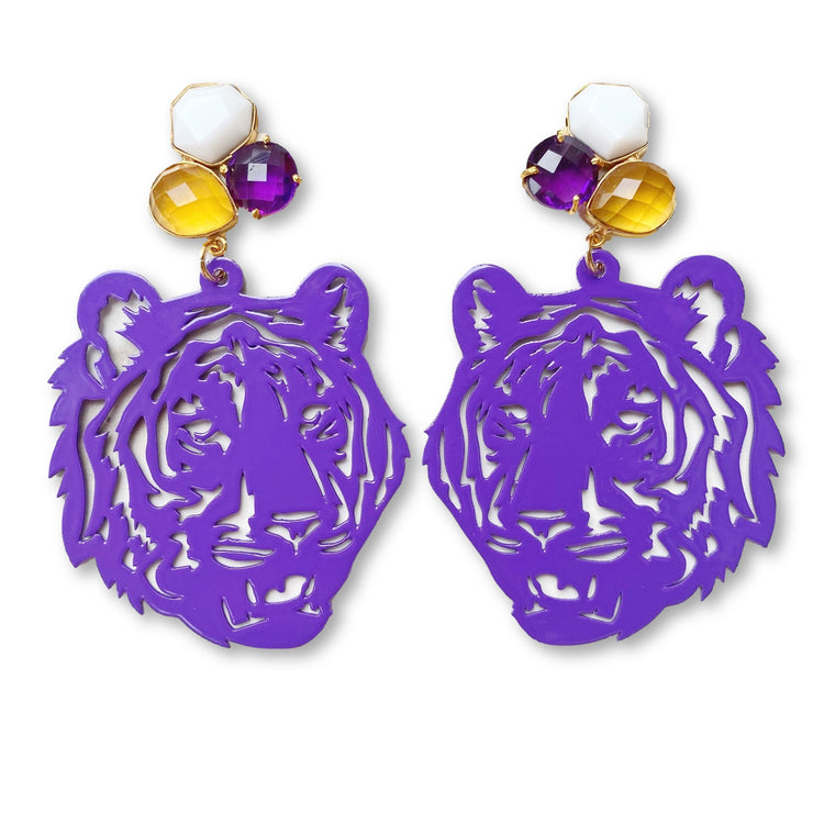 LSU Purple Tiger Earrings with 3 Gemstones