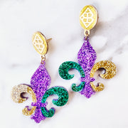Mardi Gras 2021 - Multicolor Fleur de Lis Earrings