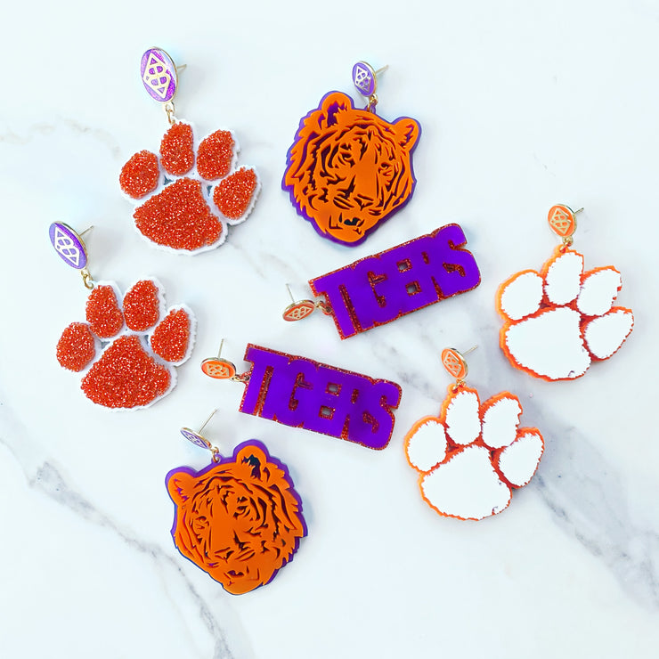Clemson - Purple TIGERS Earrings over Orange Glitter with Orange BC Logo Top