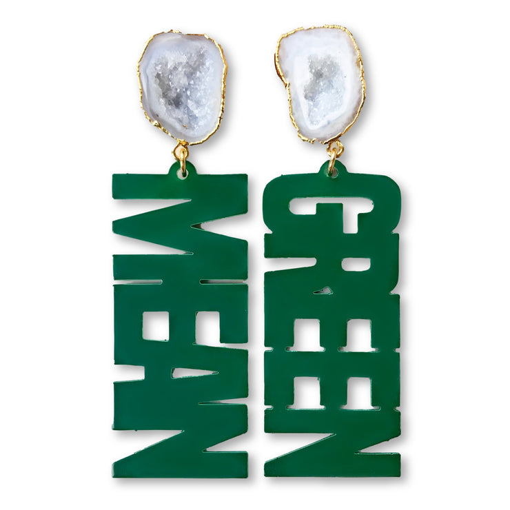 "UNT Green ""MEAN GREEN"" Earrings with White Geode"