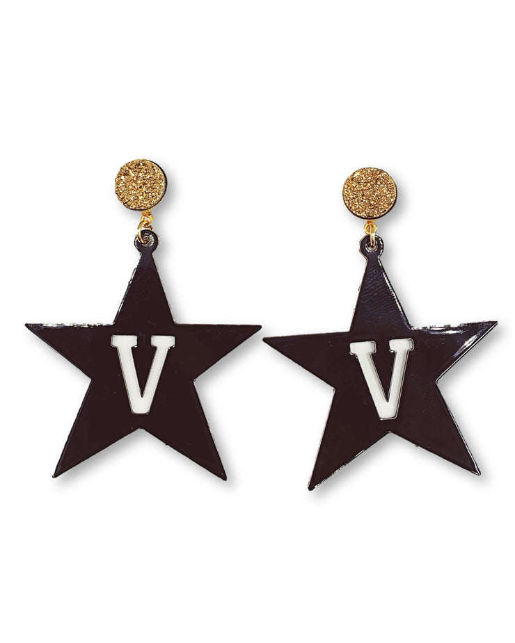 Vanderbilt Black Star Earrings with Gold Druzy