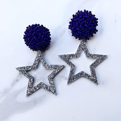 Team Colors Silver Glitter Acrylic Star Earrings with Navy Blue Beaded Top
