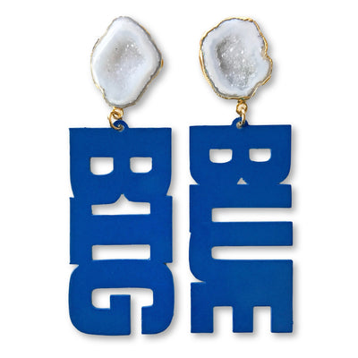 "Kentucky Blue ""BIG BLUE"" Earrings with White Geode"