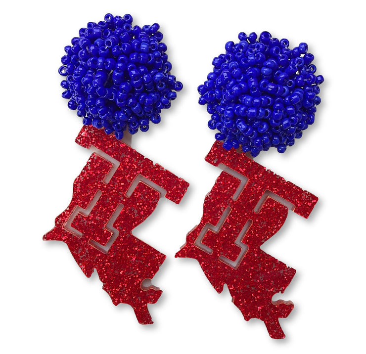 Louisiana Tech Red Glitter Logo Earrings with Blue Beaded Top