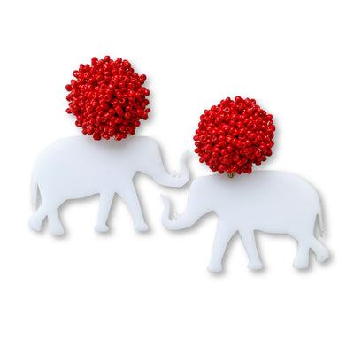 Alabama White Acrylic Elephant with Red Beaded Top