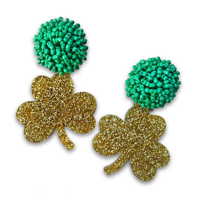 Team Colors Gold Glitter Acrylic Shamrock with Beaded Top (MORE COLORS)