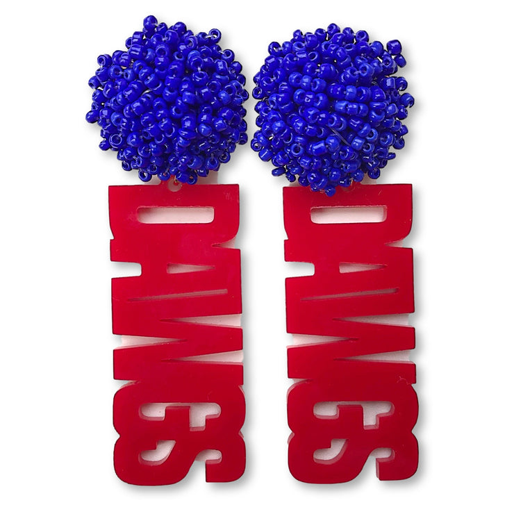 Louisiana Tech Red DAWGS Earrings with Blue Beaded Top