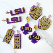 LSU - Purple LSU Fleur de Lis Earrings over Gold Glitter with Purple Logo Top