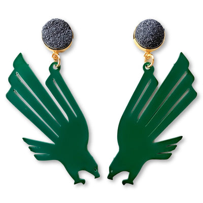 UNT Green Eagle Logo Earrings with Black Druzy