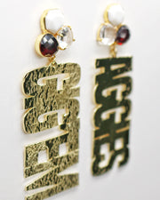 Texas A&M Gold GIG'EM AGGIES Earrings with 3 Gemstones