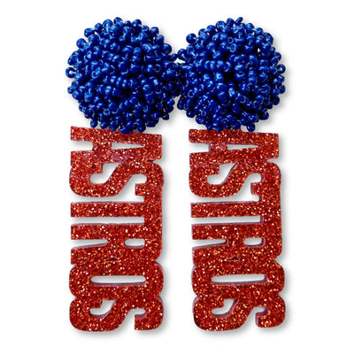 "Orange Glitter Acrylic ""ASTROS"" Earrings with Navy Blue Beaded Top"